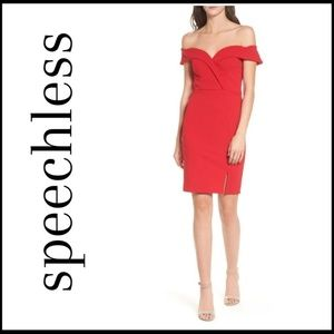 NWT SPEECHLESS Red Off-The-Shoulder Bodycon Dress